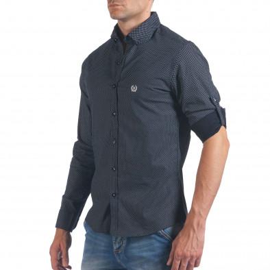 Мъжка черна риза с малки кръстчета il060616-119 4
