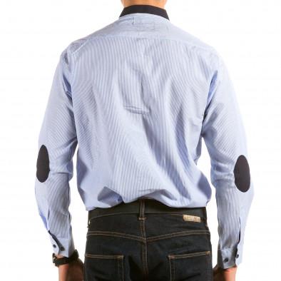 Мъжка синьо-бяла раирана риза il180215-177 3