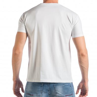 Мъжка бяла тениска с надписи и йероглифи tsf290318-9 3
