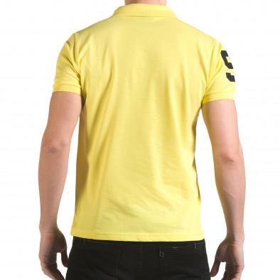 Мъжка жълта тениска с яка с релефен надпис Super FRK il170216-22 3