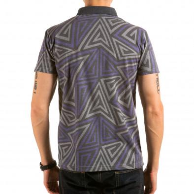 Мъжка сива тениска с яка с геометрични фигури Catch 4