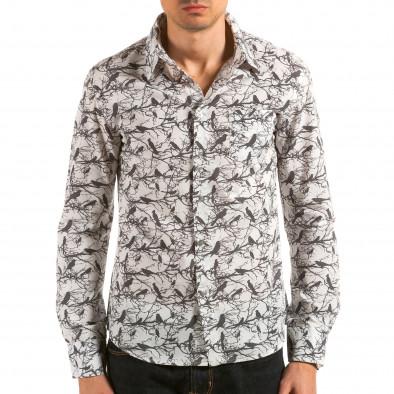 Мъжка бяла риза с черни птици и клони il180215-188 3