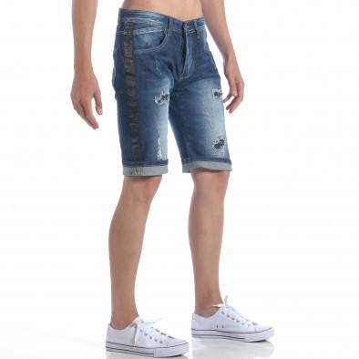Мъжки къси дънки с метални детайли it050617-34 4