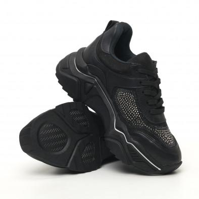Дамски черни маратонки с камъчета tr180320-17 4
