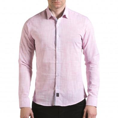 Мъжка розова риза изчистен модел il170216-124 2