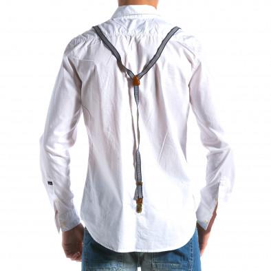 Мъжка бяла риза с тиранти tsf100214-9 3