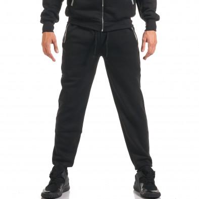 Мъжки черен спортен комплект с бяла и сива лента it160916-67 5