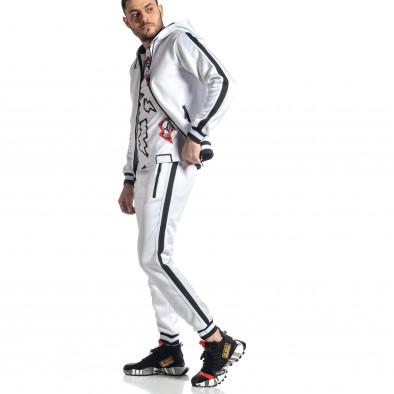 Мъжки бял ватиран анцуг с кантове it010221-60 4