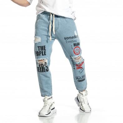 Relaxed fit мъжки сини дънки с принт it150521-41 2