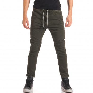 Мъжки зелен спортен панталон с допълнителни шевове it150816-10 2