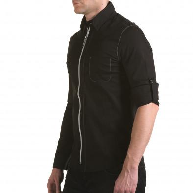 Мъжка черна риза с цип il170216-92 4