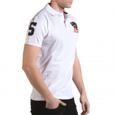 Мъжка бяла тениска с яка с релефен надпис Super FRK il170216-27 4