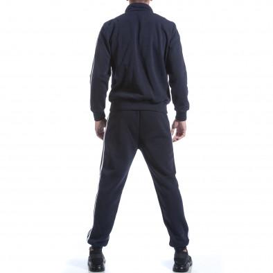 Мъжки син спортен комплект с бели ленти it160817-74 3