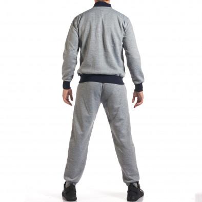 Мъжки светло сив спортен комплект с декоративен цип it160916-75 3