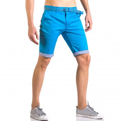 Мъжки светло син  къс панталон с плетен колан ca050416-56 4