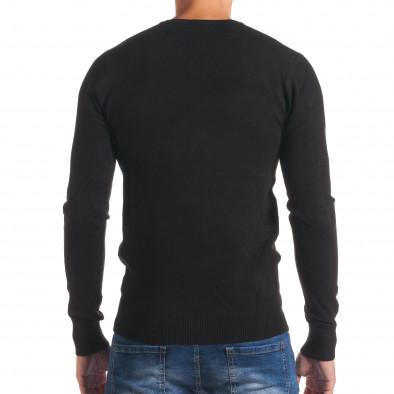 Мъжки черен изчистен пуловер с остро деколте it170816-46 3