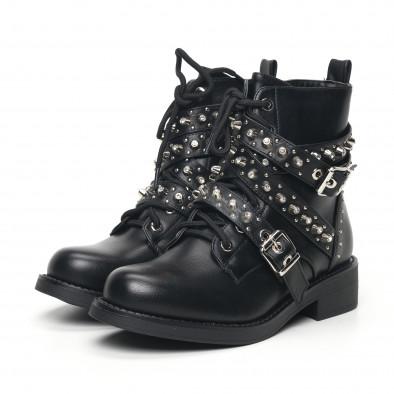 Дамски черни боти с декорирани каишки it051219-19 3