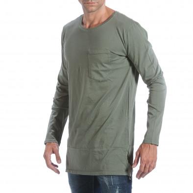 Мъжка зелена блуза с ципове отстрани it160817-84 4
