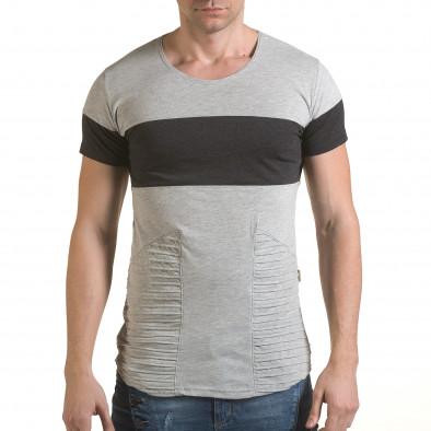 Мъжка сива тениска с тъмно сива лента Click Bomb 4