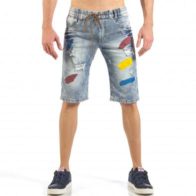 Мъжки сини къси дънки с цветни петна it260318-112 2