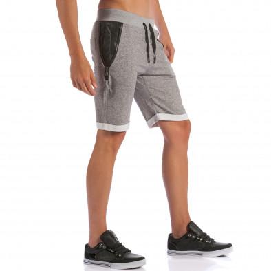 Мъжки сиви шорти с кожени части до джобовете ca100615-19 4