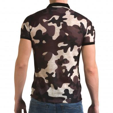Мъжка тениска с яка бежово-лилав камуфлаж il120216-21 3
