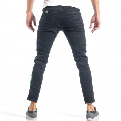 Мъжки черни скъсани дънки с бяло-зелени кантове it040518-7 4
