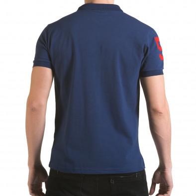 Мъжка тъмно синя тениска с яка с релефен надпис Super FRK il170216-28 3