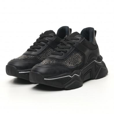 Дамски черни маратонки с камъчета tr180320-17 3