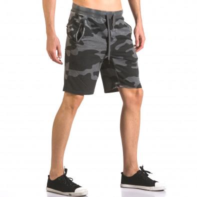 Мъжки къси панталони тип шорти сив камуфлаж ca050416-47 4