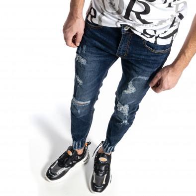 Мъжки сини дънки с прокъсвания Capri fit it010221-39 2