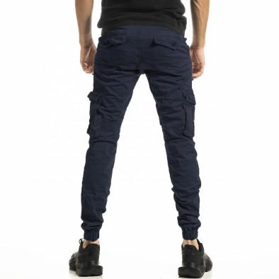 Мъжки син карго панталон с ластик на крачолите tr161020-1 3