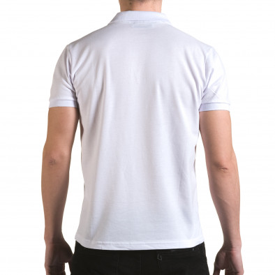 Мъжка бяла тениска с яка с надпис Franklin NYC Athletic il170216-31 3
