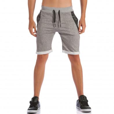 Мъжки сиви шорти с кожени части до джобовете ca100615-19 2