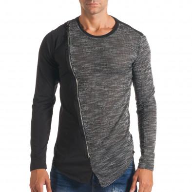Мъжка черна блуза с тъмно сива част и цип it180816-8 2