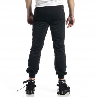 Мъжко черно долнище с бродирано лого it270221-25 3