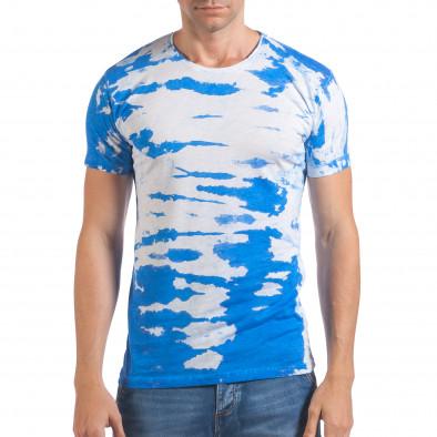 Мъжка бяла тениска със син принт il060616-51 2