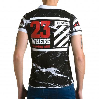 Мъжка черна тениска с яка с бял принт и номер на гърба Belman 4
