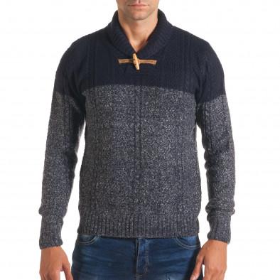 Мъжки син зимен пуловер с копче на яката it170816-32 2