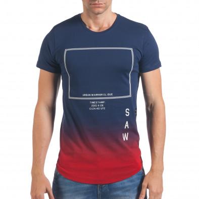 Мъжка синя тениска с червено в края il060616-26 2