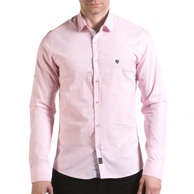 Мъжка розова риза на много фини квадратчета Buqra 5
