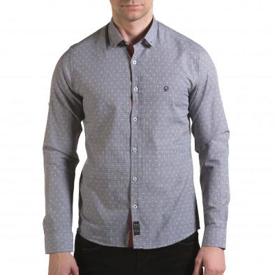 Мъжка сива риза на фини квадратчета с лого Buqra 5