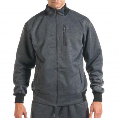 Мъжки тъмно сив спортен комплект с декоративен цип it160916-76 4
