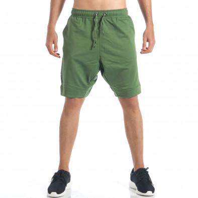 Мъжки зелени шорти с декоративен цип it190417-17 2