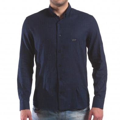 Мъжка синя риза с малки разноцветни детайли il210616-29 2