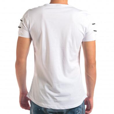 Мъжка бяла тениска с надпис и скъсвания на ръкавите il210616-9 3
