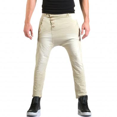 Мъжки бежов панталон със смъкнато дъно и копчета it211015-15 2
