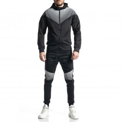 Мъжки черен анцуг Biker style it010221-53 2