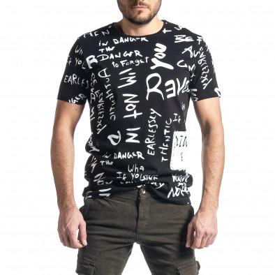 Мъжка черна тениска с принт tr010221-13 2