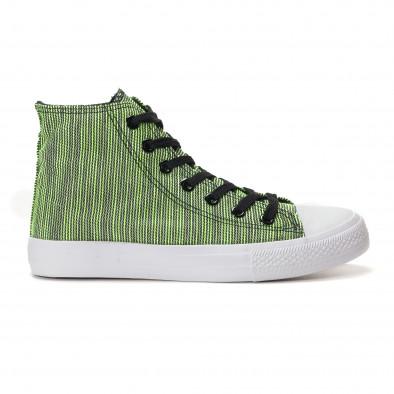 Мъжки високи зелени кецове на фино черно райе it250118-15 2
